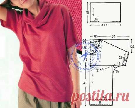 """Блузка с цельнокроеными короткими рукавами и воротником """"хомут"""". #простыевыкройки #простыевещи #шитье #блузка #выкройка"""