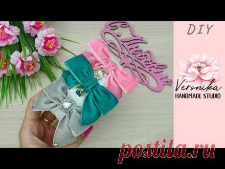 Бантик из бархатной ленты 2,5 см легко 🎀 Velvet ribbon Bow 🎀 Laço de fita de veludo