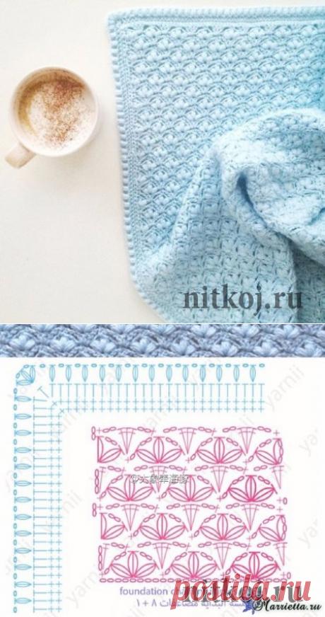 Узор пышными столбиками для создания детского пледа » Ниткой - вязаные вещи для вашего дома, вязание крючком, вязание спицами, схемы вязания