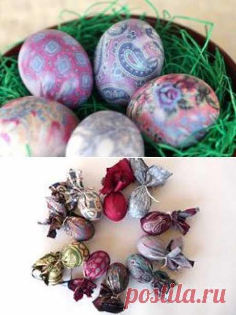 Как окрасить тканью яйца?.