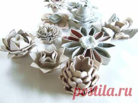 Цветы из яичных лотков, мастер-классы и фото. Поделки из картонных коробок от яиц   podelki-doma.ru