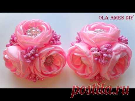 Las flores de las cintas \/ Kanzashi flower tutorial\/Wedding hair accessoire\/Ola ameS DIY