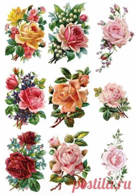 Картинки для декупажа: 27 декупажных карт с цветами ~ Свое рукоделие