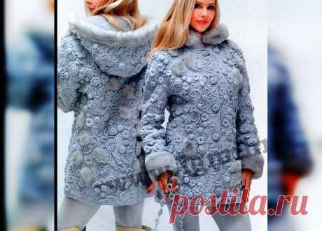 Потрясающее пальто в технике фриформ от Ольги Масагутовой .