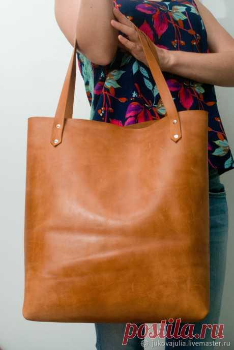 Шьем сумку-шоппер из натуральной толстой кожи без машинки и навыков шитья
