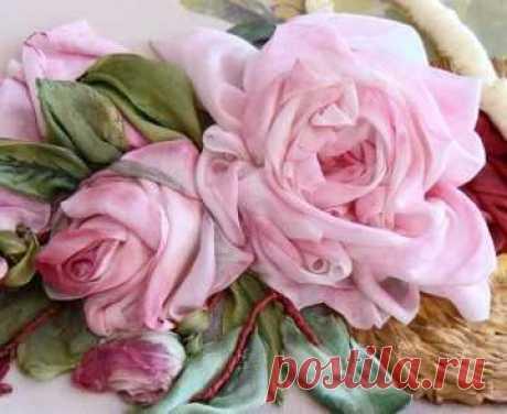 Вышивка лентами для начинающих мастер класс розы