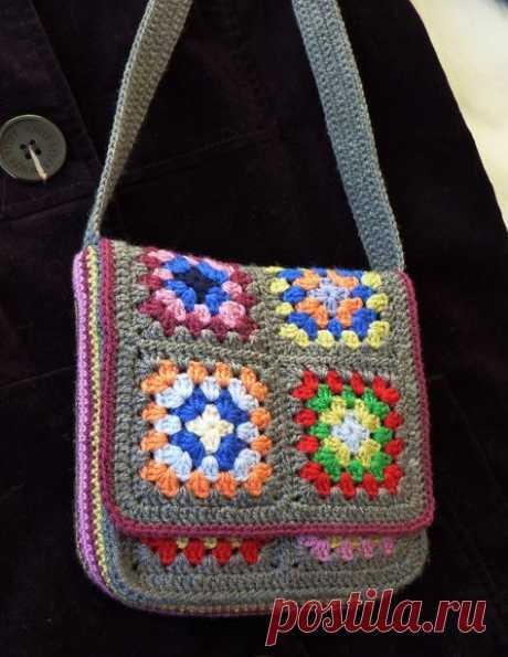 Бабушкин квадрат. Вяжем сумку. Много идей