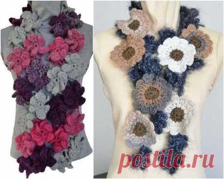 Разновидности  шарфиков  с  цветочками!