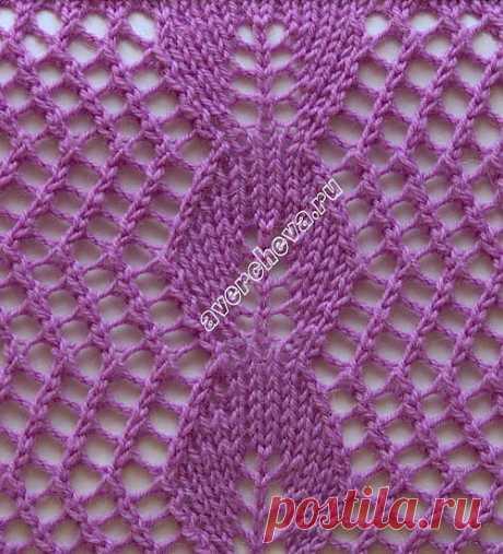 ажурный узор сеточка с центральным мотивом из листочков | каталог вязаных спицами узоров