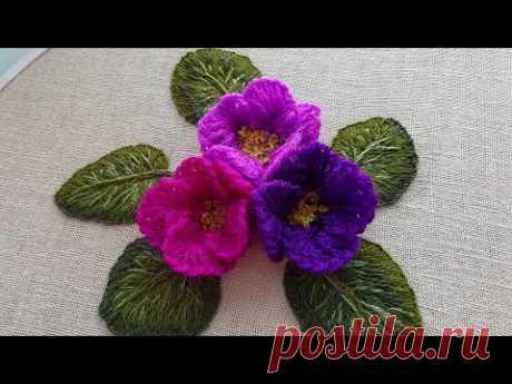 3D embroidery |Super Easy Woolen Flower | Amazing Trick - Wool Thread Design
