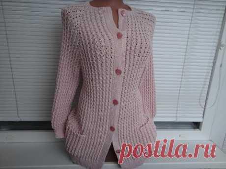 Кофта (Жакет, Кардиган) спицами. Реглан сверху. Часть 1. Расчеты, начало вязания. Jacket knitting