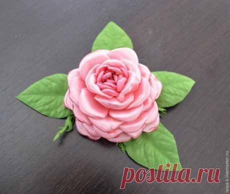 Розовый цветок из лент на плоской основе своими руками: мастер-класс