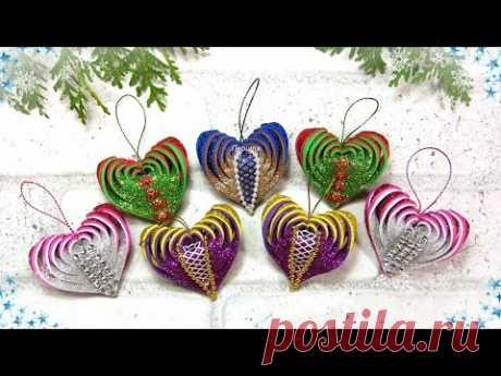 Новогодние елочные игрушки сердечко из фоамирана / diy christmas ornaments foam