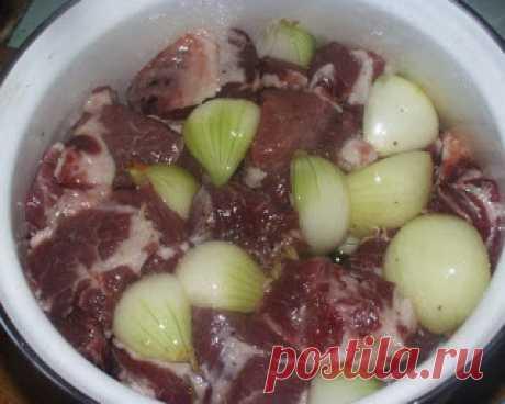 La receta de la marinada para el shashlik, contado por el armenio viejo. ¡En 40 minutos la carne es preparada!