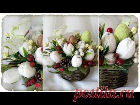 DIY ПАСХАЛЬНАЯ КОРЗИНКА! Тюльпаны из гофрированной бумаги, корзинка из газетных трубочек