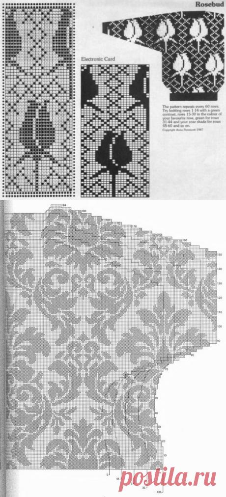 Вязание спицами - Жаккард спицами - Цветочный жаккардовый принт - Жаккардовые цветы и листья
