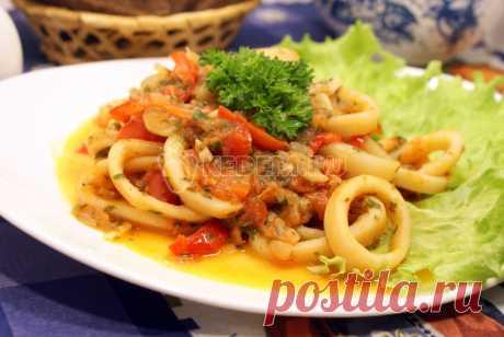 Кальмары тушеные с овощами – Рецепт с фото. Рецепты. Вторые блюда. Блюда с рыбой и морепродуктами