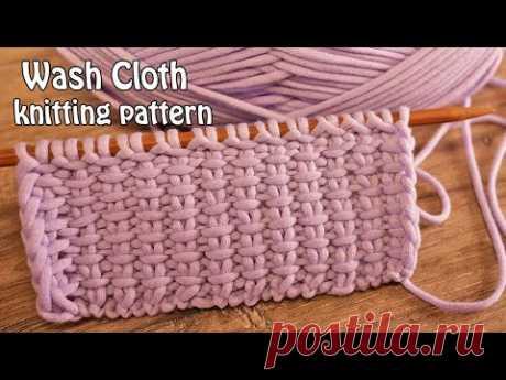 Тканный узор спицами 📌 Wash Cloth knitting pattern