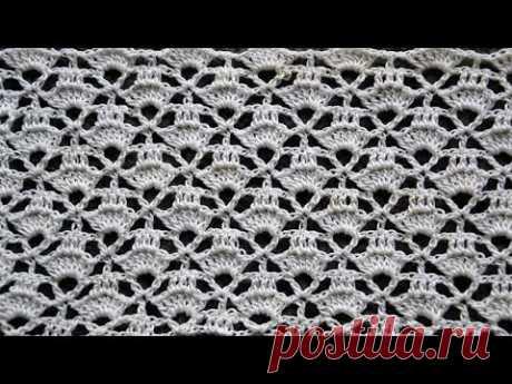 Красивый ажурный узор крючком Бирюза - YouTube