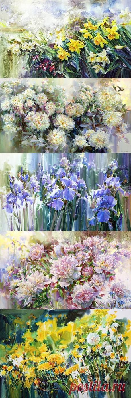 Симфония цветов от художника Олега Тимошина.Весенняя волна