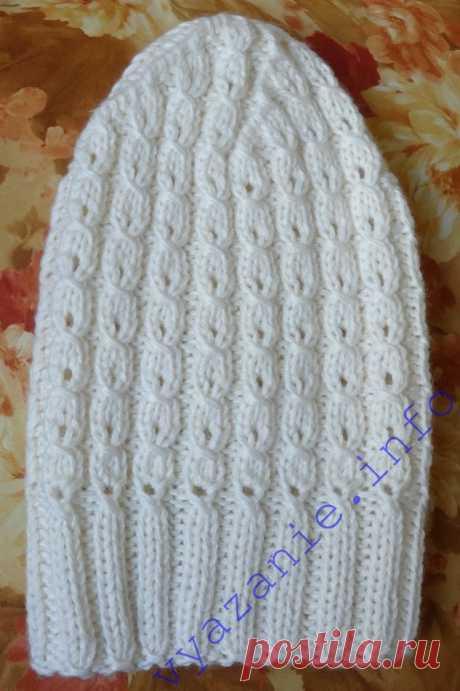 Белая шапка спицами для женщин. Подробно. - Все о вязании