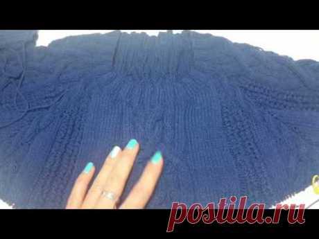 Мужской синий пуловер big size. Участие в совместнике свяжем мужской пуловер.