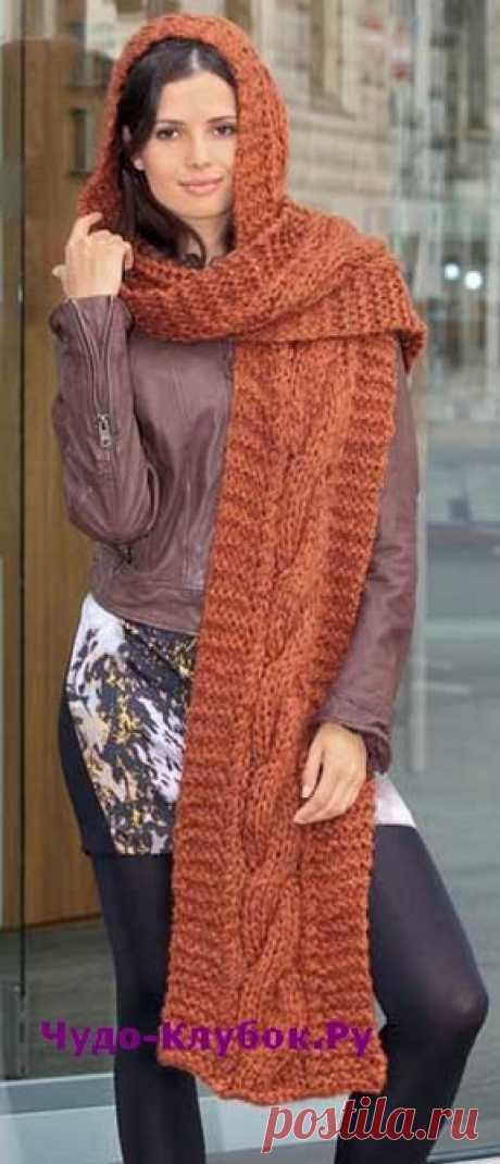 Теплый комплект из шарфа и капюшона вязаный спицами 126 | ✺❁сайт ЧУДО-клубок ❣ ❂✺В последнее время вязанные шапки, шарфы не только теплые аксессуары, но и настоящие украшения. Пример тому, этот вязаный комплект из шарфа и капюшона ❂ ►►➤6 000 ✿моделей вязания ❣❣❣ 70 000 узоров►►Заходите❣❣ %