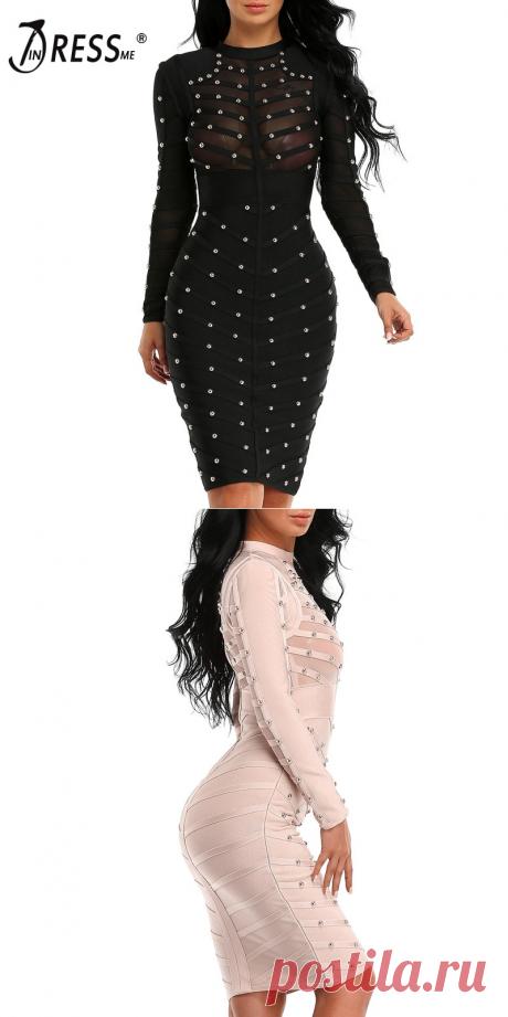 INDRESSME 2018 женское черное с длинным рукавом шипованное Бандажное Платье До Колена облегающее платье купить на AliExpress