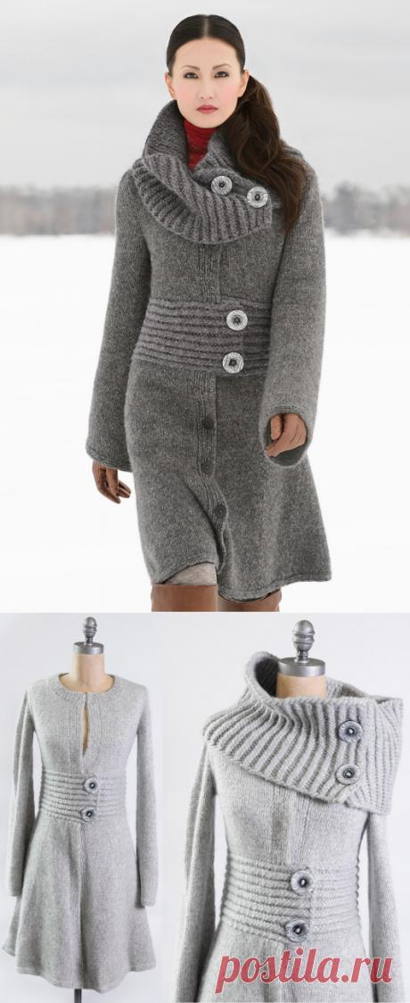Длинное вязаное пальто | ДОМОСЕДКА