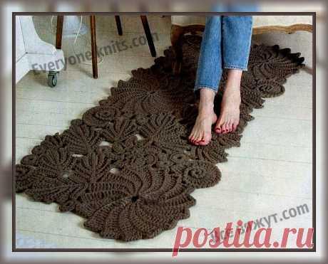 Вяжем крючком винтажный коврик. | Все вяжут.сом/Everyone knits.com | Яндекс Дзен