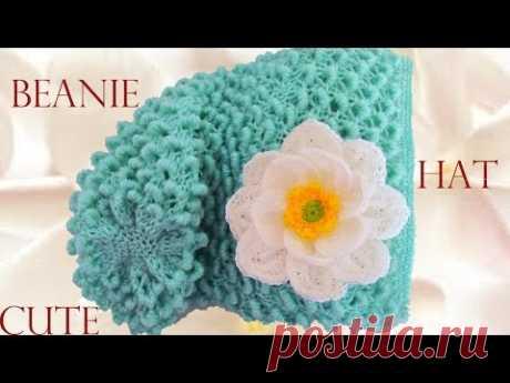 Como tejer gorro boina fácil y rápido-Make Knitting Beanie easy cute Hat  with flowers fa0ba68615a