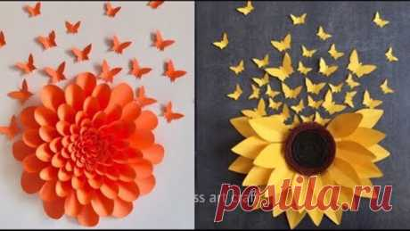3 AWESOME WALL DECOR IDEAS WITH PAPER FLOWERS AND PAPER BUTTERFLIES