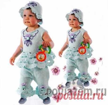 Вяжем детям костюм с кружевом и вышивкой