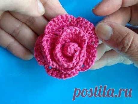 ▶ Вязаные цветы - Урок 3 - Роза с лепесточками - YouTube