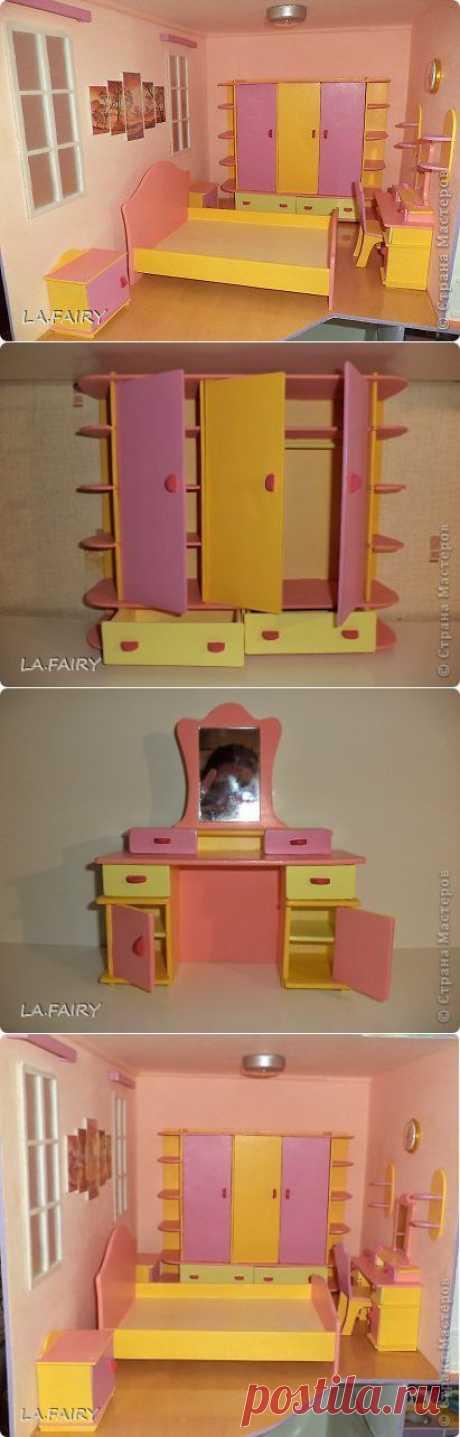 Мебель для кукол. Мой кукольный домик: спальня кукольных родителей. | Страна Мастеров