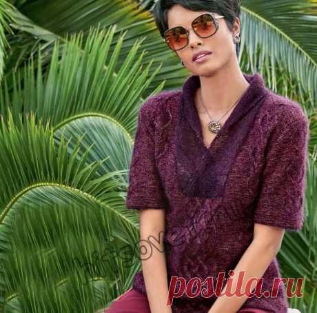 Модная кофта спицами - Хитсовет Вязание спицами для женщин стильной модной кофты с узором сердечки и узелки со схемами и пошаговым описанием.