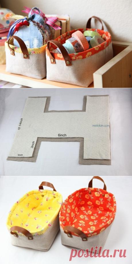 Текстильные корзиночки для хранения вещей — Сделай сам, идеи для творчества - DIY Ideas