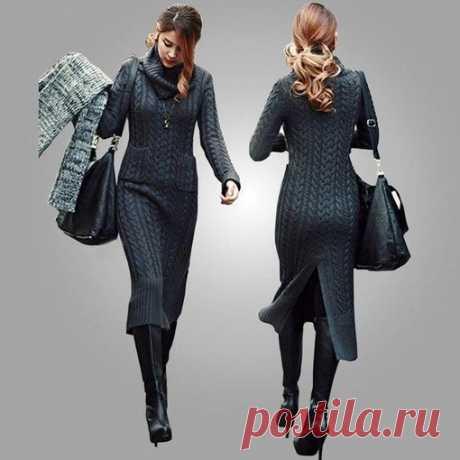 Шикарное теплое платье спицами. #вязание #спицами