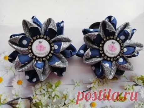Школьные бантики из лент 2,5 см. МК Канзаши / School bows of ribbons 2.5 cm / Laços de fitas