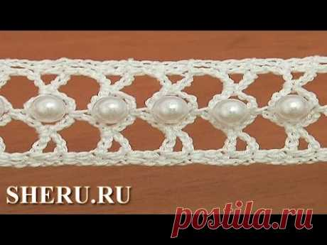How to Crochet Lace With Big Beads the Lesson 21 Elegant ribbon with big beads
