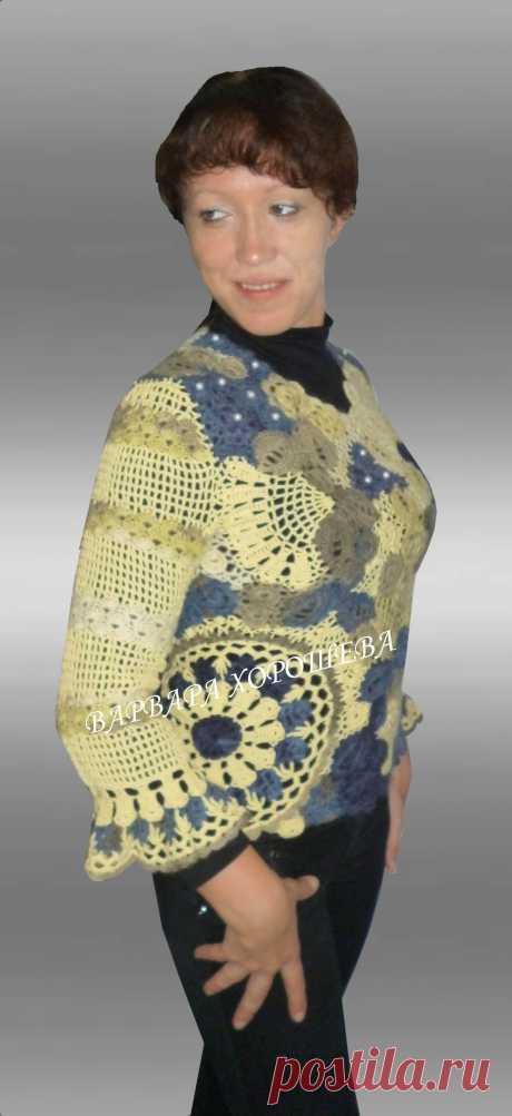 """Пуловер """"Цветы на камнях""""."""