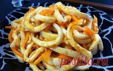 """"""" Кальмар по- корейски""""и он станет любимым блюдом из кальмара"""