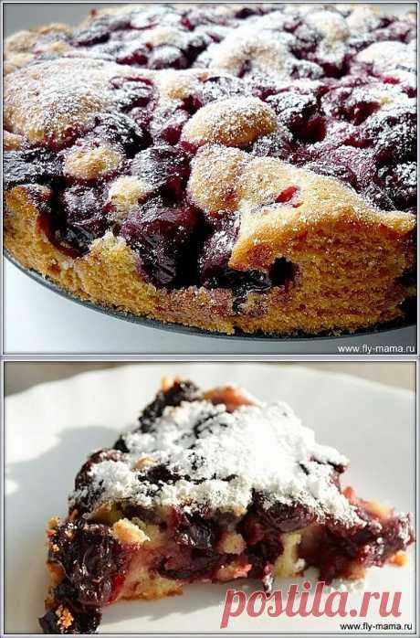Вишневый пирог за 10 минут.