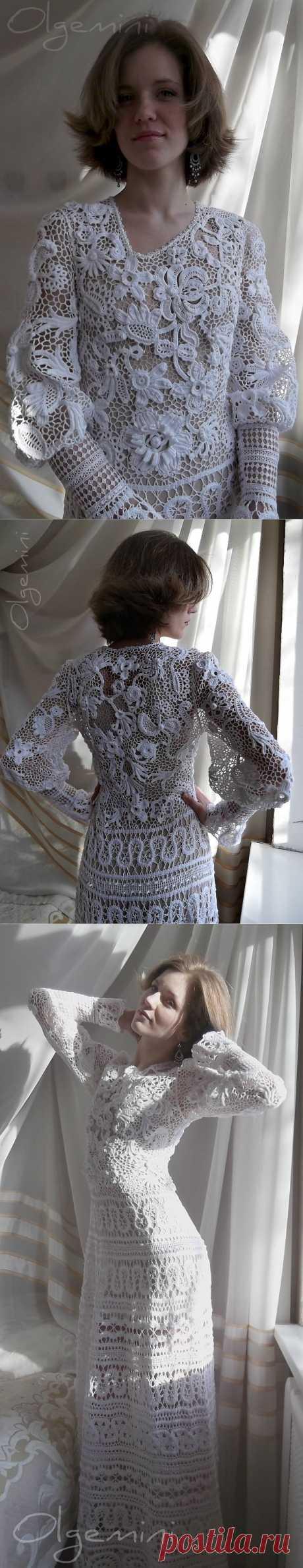 "Платье""Лебедушка"". ¡La belleza indescriptible!!!. El encaje irlandés + bryugskoe el encaje = el vestido ""ЛЕБЁДУШКА"" de OLGEMINI... poshagovye la foto..."