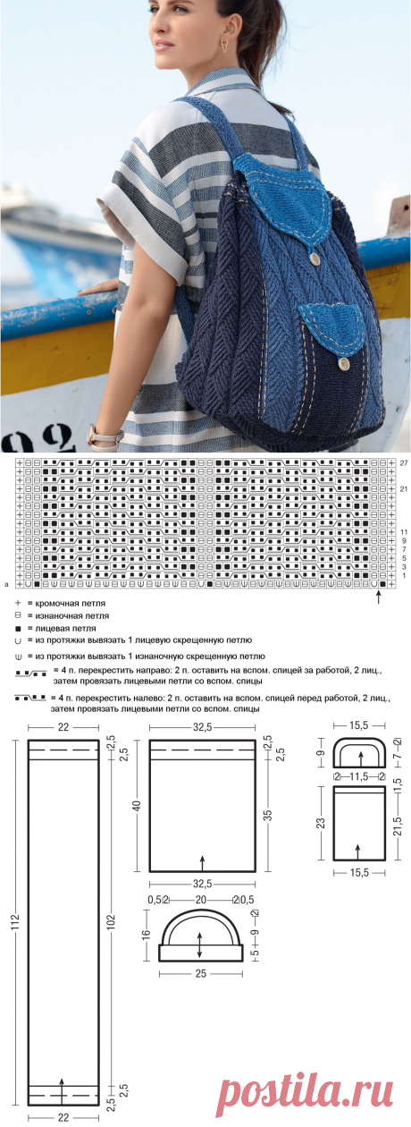 Рюкзак в рустикальном стиле - схема вязания спицами. Вяжем Сумки на Verena.ru