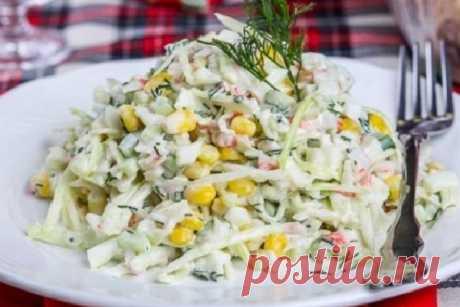 Салат из крабовых палочек и свежей капусты — Сад Заготовки