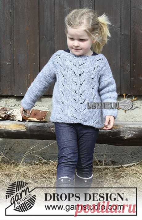 Knitted spokes a simple openwork jumper for the girl from 2 to 12 years