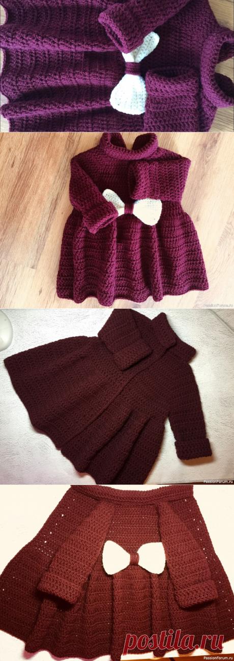 Пальто для девочки 1,5 года | Вязание спицами для детей