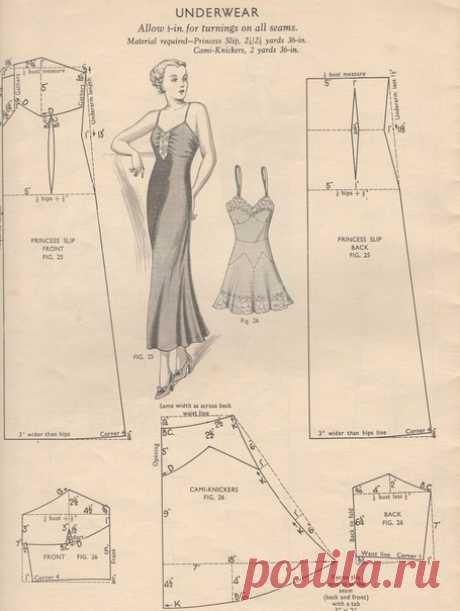 Винтажное женское белье - комбинации, ночные сорочки, панталоны. Размеры даны в дюймах (1дюйм=2,54 см). #простыевыкройки #простыевещи #шитье #ретро #выкройка #комбинация #панталоны #ночнаясорочка