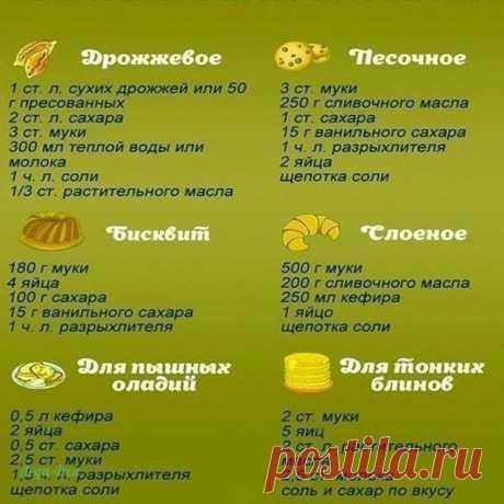 Рецепты разных видов теста